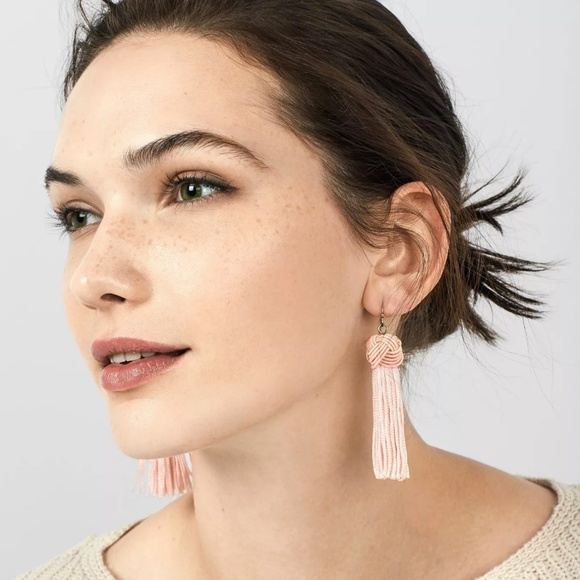 Jewelry - BaubleBar Tassel Drop Earrings with Knot - Pink